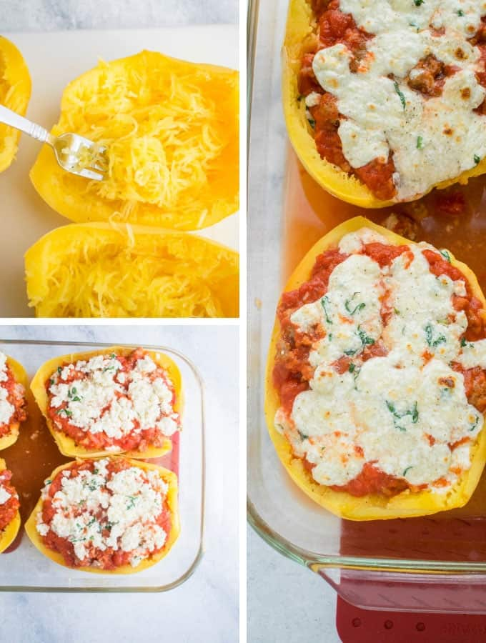 Collage of fluffing spaghetti squash, filled squash and baked Spaghetti Squash Lasagna Boats
