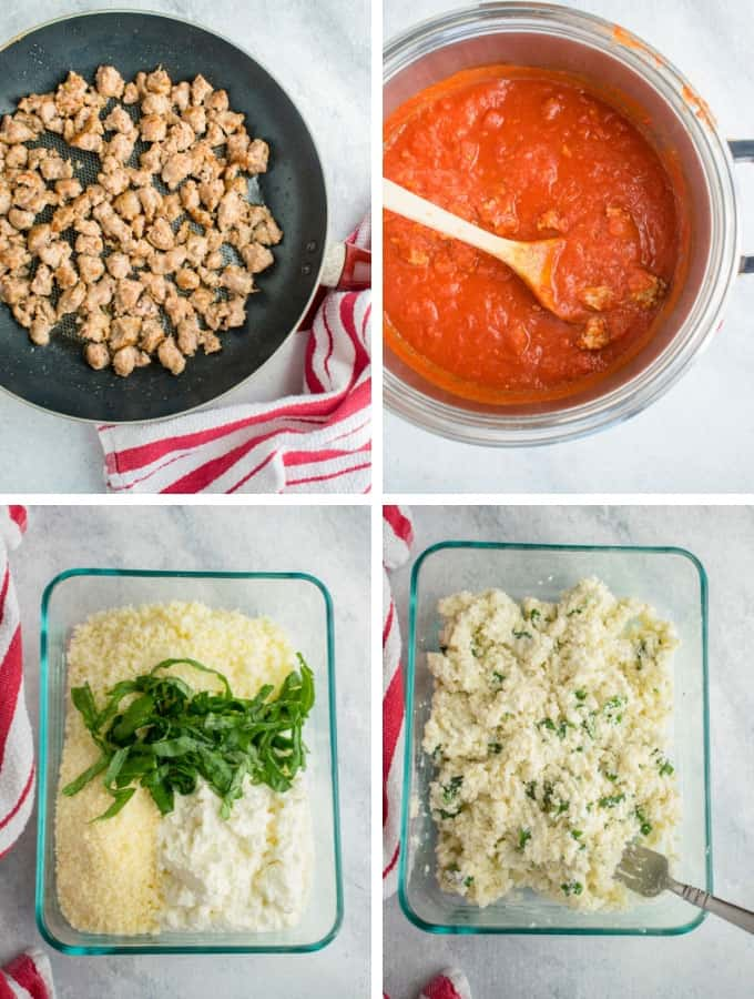 Collage of sausage, sausage tomato sauce, and cheese filling for spaghetti squash lasagna boats