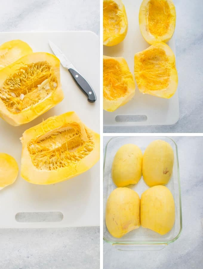 Collage of spaghetti squash halves on cutting board and in glass pan