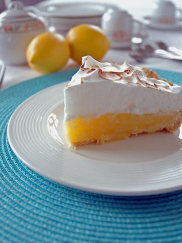 plate with a slice of Lemon Meringue Pie