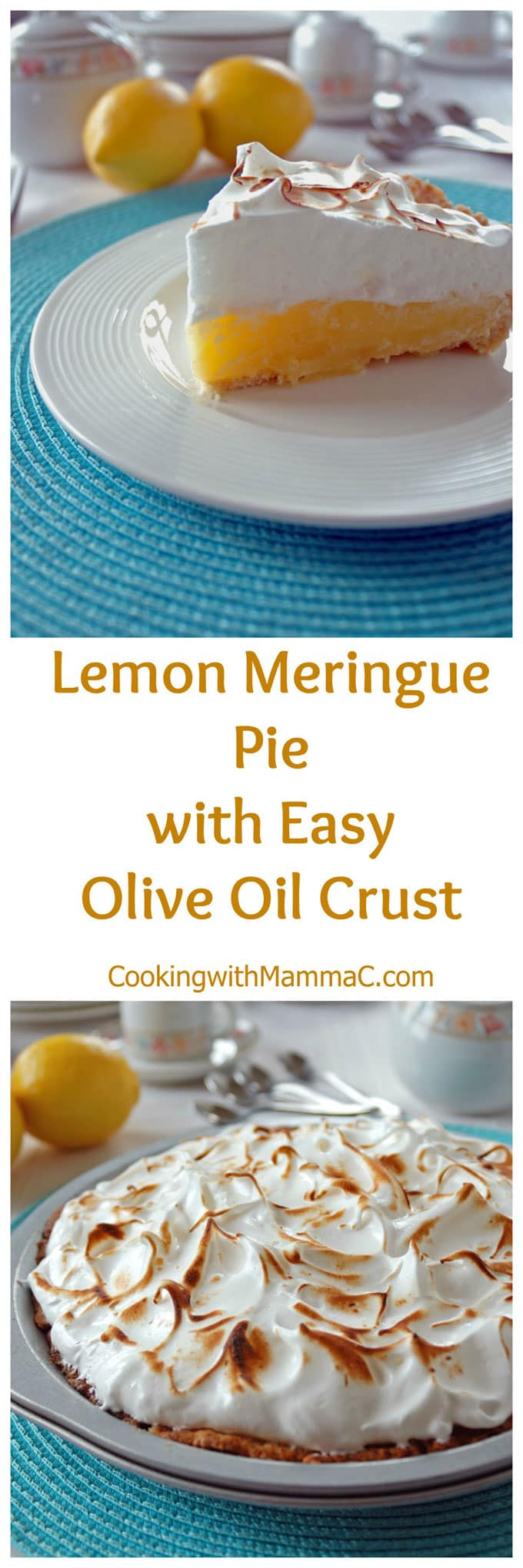 Lemon Meringue Pie with Easy Olive Oil Crust is the pie of my dreams! It's perfectly sweet-tart with a nice lemon flavor and a delicious, no-roll crust!