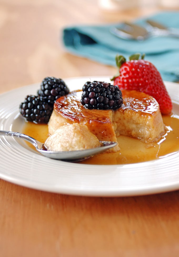 Low-Fat-Maple-Flan-with-Berries