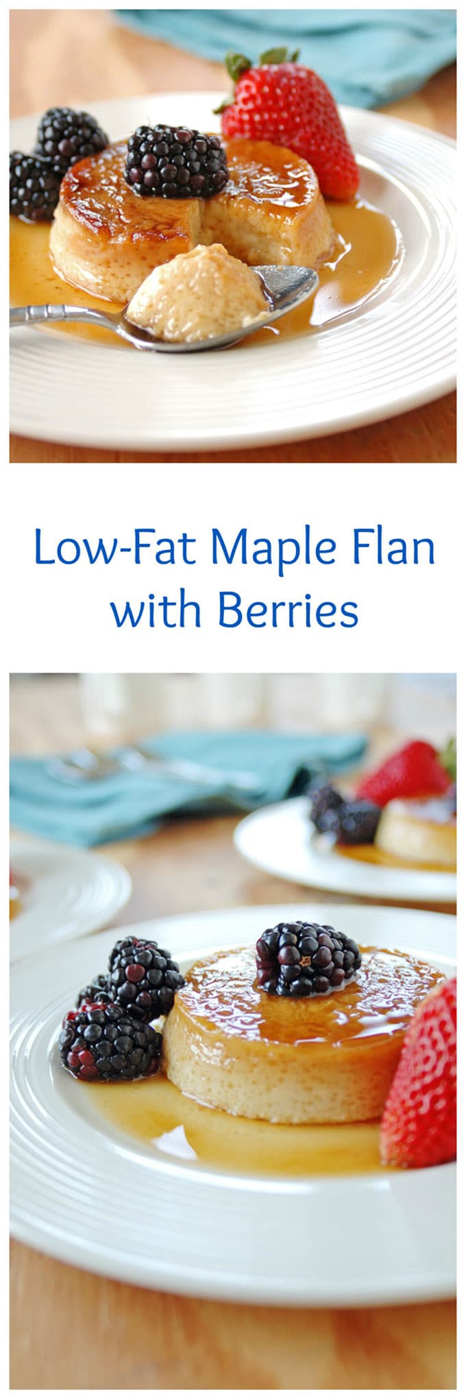 Low-Fat Maple Flan with Berries is one of my favorite desserts! Made with 2% milk and pure maple syrup instead of refined sugar.