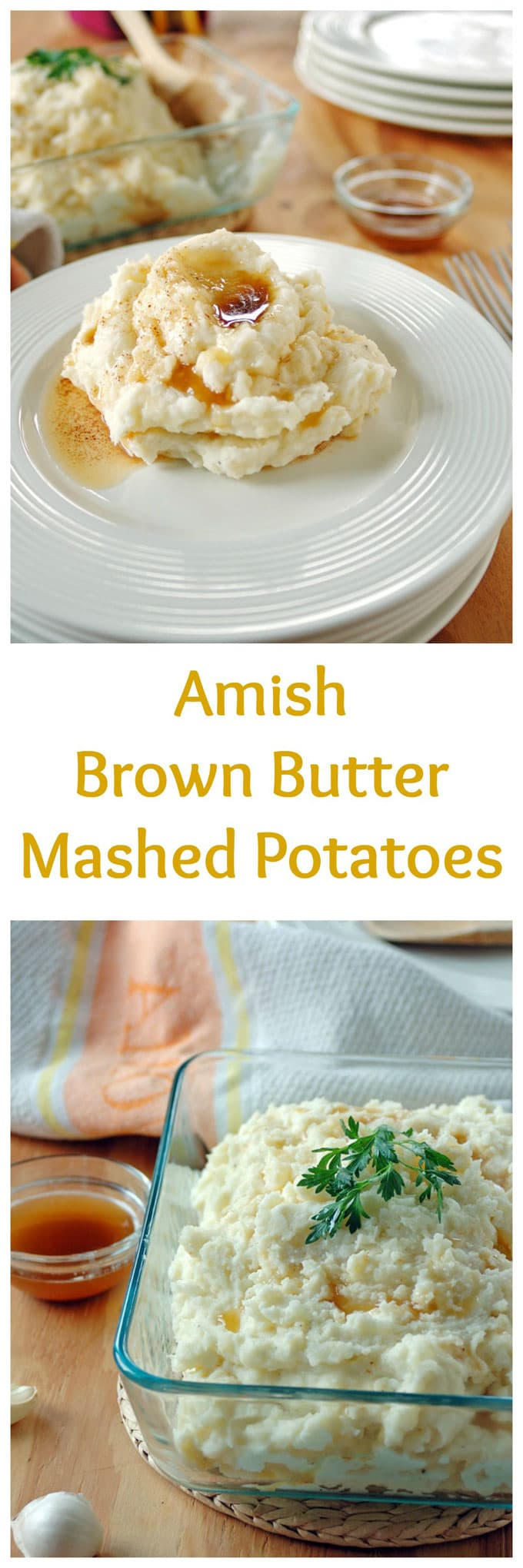 "the words ""Amish Brown Butter Mashed Potatoes\"" separating two photos of it"