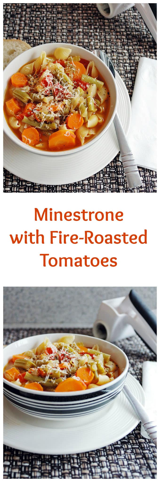 Minestrone with Fire-Roasted Tomatoes. A delicious, hearty soup accented with Romano cheese!