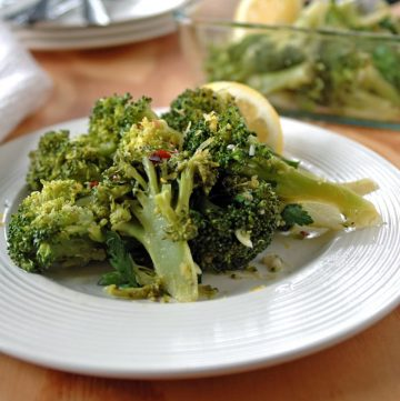 Broccoli with Gremolata on a plate