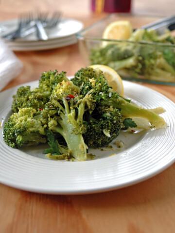Broccoli with Gremolata on a plate