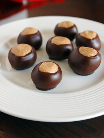 7 buckeye candies on a plate