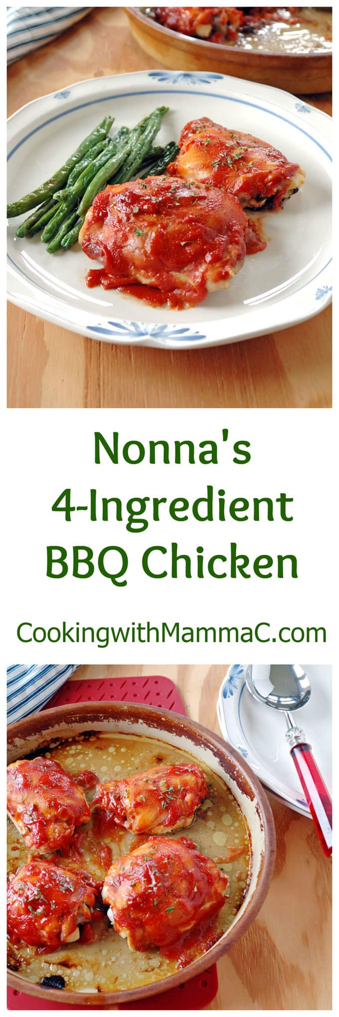 Nonna's 4-Ingredient BBQ Chicken is so easy and delicious! Just 5 minutes of prep and then bake for an hour. Gluten free.