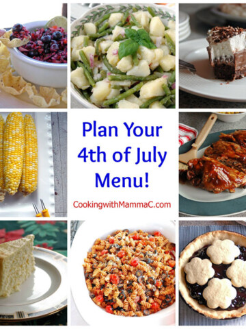 "Collage of food surrounding the words ""Plan Your 4th of July Menu!"""