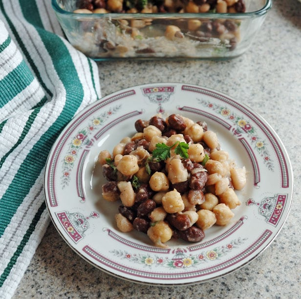 overhead view of Italian Bean Salad in a bowl