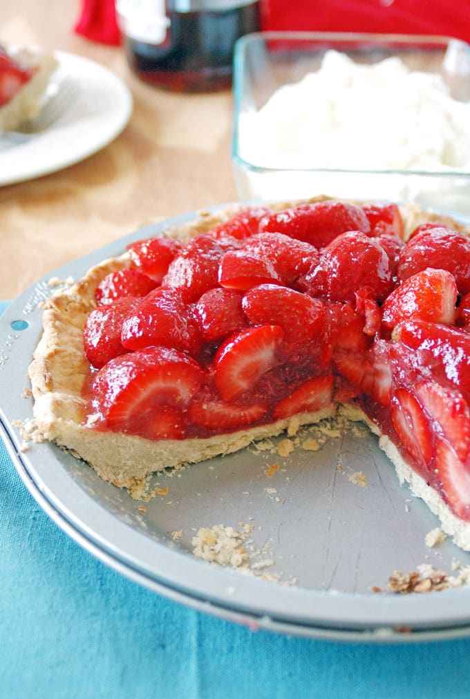 Strawberry Amaretto Pie - with almond whipped cream, strawberry-amaretto filling and a no-roll amaretto crust!