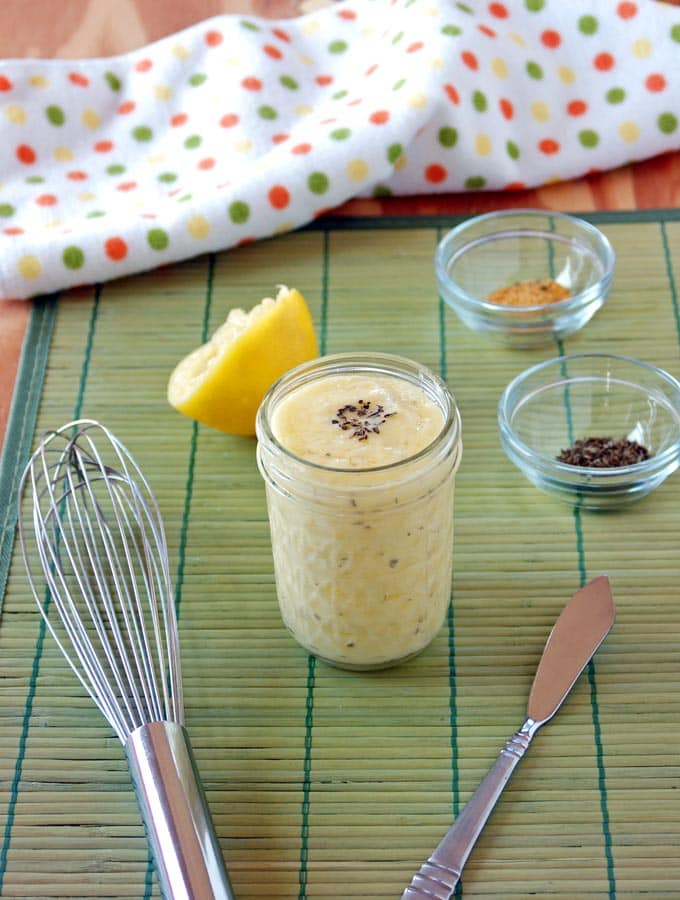 Homemade Basil-Garlic Mayonnaise is easy, soy free and delicious! There are no raw eggs. The egg yolk is cooked to a food-safe temperature in the microwave. Gluten free.