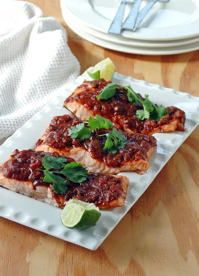 Salmon with Balsamic Salsa and Lime is so easy and packed with Tex-Mex flavor! Ready in 25 minutes and gluten free!