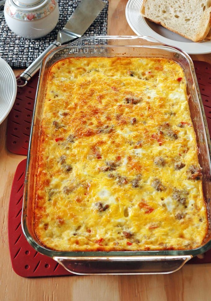 Sausage and Peppers Breakfast Casserole in a glass baking dish
