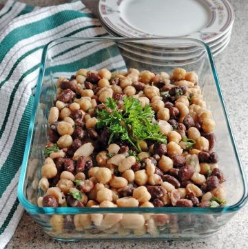 This Italian Bean Salad is so quick and easy! Vegan gluten free and perfect for your next potluck.