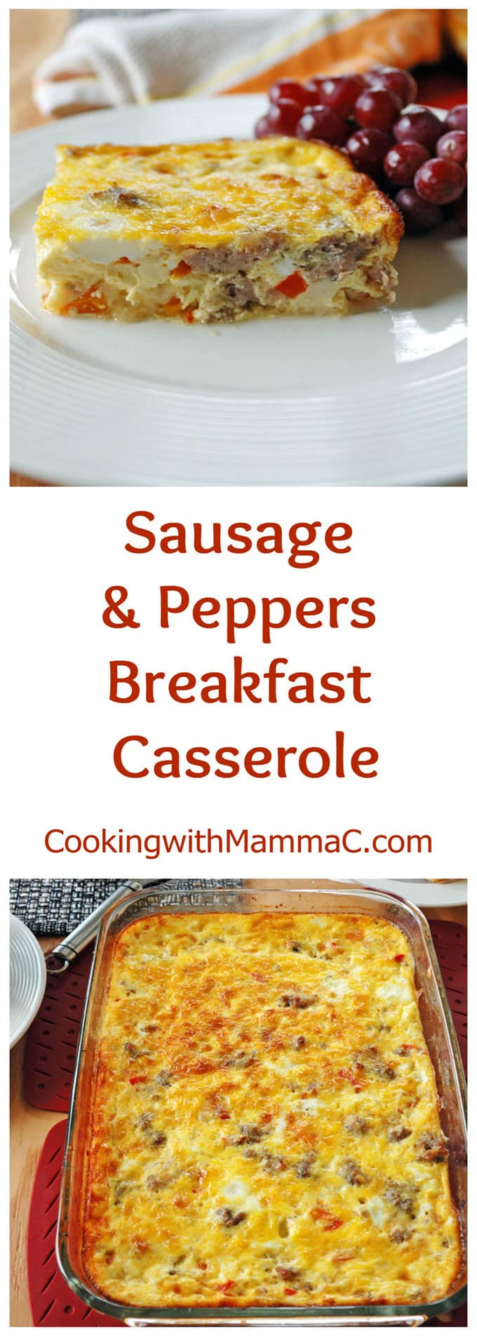 """two photos of Sausage and Peppers Breakfast Casserole separated by the words \""""Sausage and Peppers Breakfast Casserole\"""""""