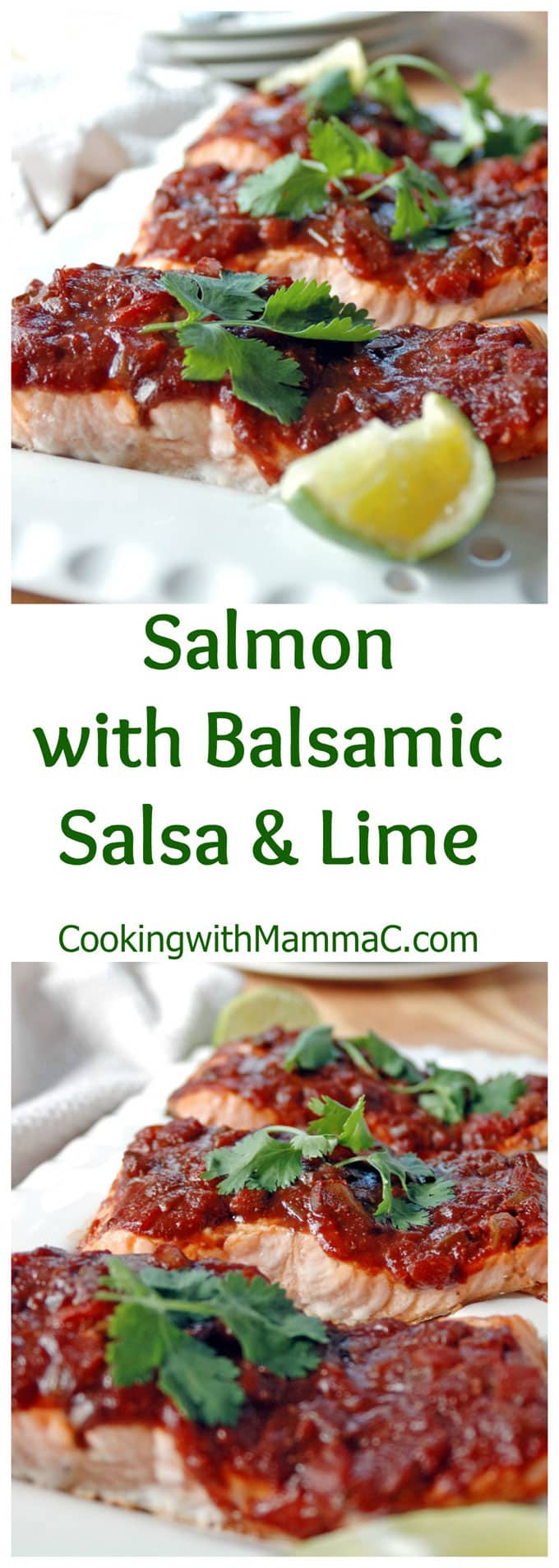 Salmon with Balsamic Salsa and Lime is so easy and packed with flavor! Add Tex-Mex accents to store-bought salsa for a tasty sauce. Ready in 25 minutes and gluten free!