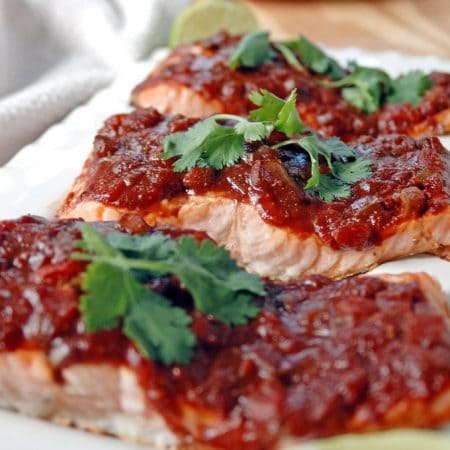 Salmon with Balsamic Salsa and Lime is easy to prepare and packed with flavor! Use store-bought salsa and kick it up with Tex-Mex accents for a tasty sauce.