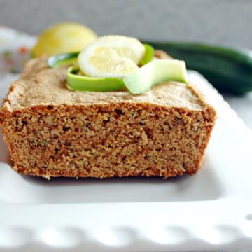 Lemony Whole Wheat Zucchini Bread on a platter