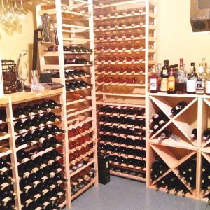 wooden racks of wine