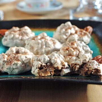 close-up of Chocolate-Pecan Meringue Cookies