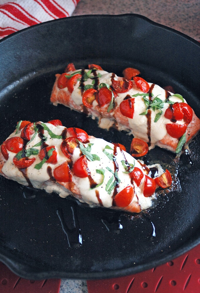 Salmon Caprese with Balsamic Glaze is the best salmon I've ever made! It's so easy, yet impressive enough for company! Gluten free.