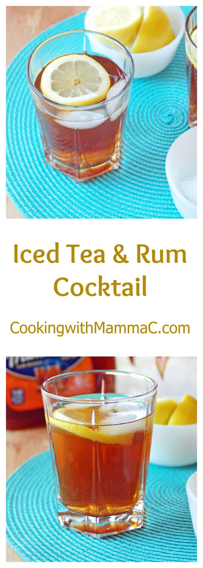 "the words ""Iced Tea & Rum Cocktail\"" separating two photos of it"