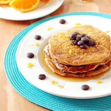 Orange Pancakes with Chocolate Chips - A declicious breakfast made with your choice of white whole wheat or all-purpose flour!
