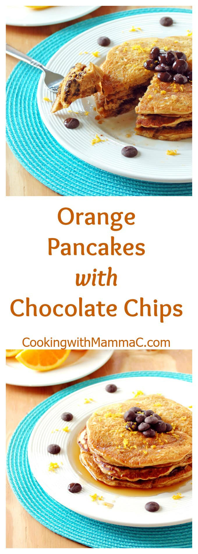pinnable collage image of chocolate chip pancakes with orange wedges