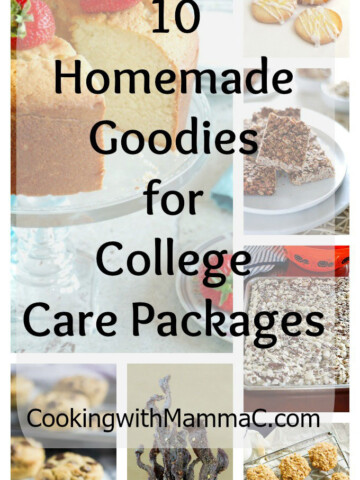 "Collage of ""Homemade Goodies for College Care Packages"""