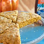 Peachy Pumpkin Scones - You don't have to love pumpkin to love these tender scones with a peach tea glaze! Perfect for breakfast or a snack.
