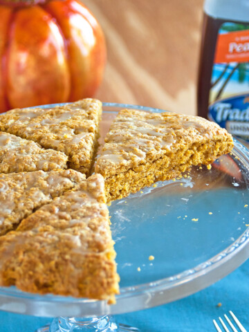 Peachy Pumpkin Scones on a cake plate