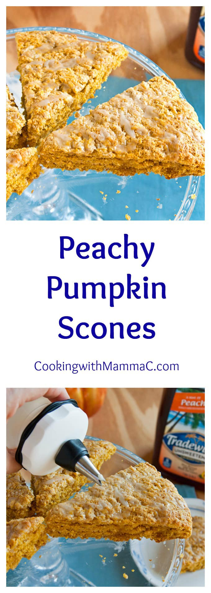 Peachy Pumpkin Scones - You don't have to love pumpkin to love these tender scones with a peach tea glaze! Perfect for breakfast or a snack. #sponsored #MomentstoSavor @TradwindsTea