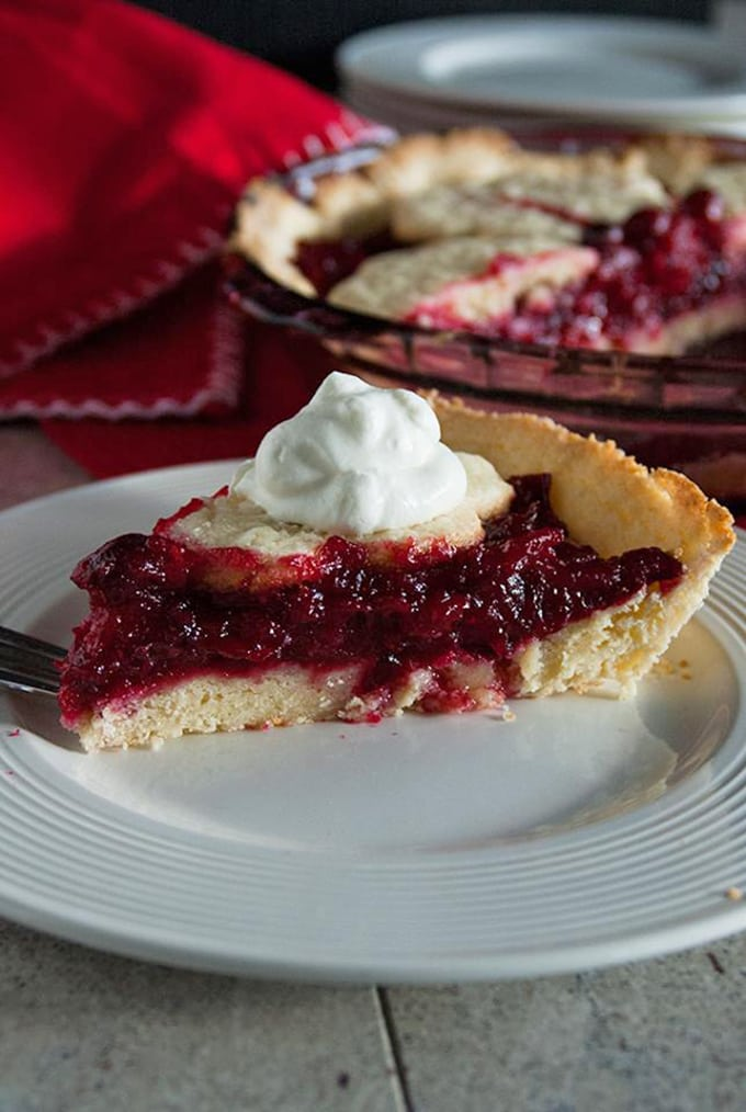 slice of Cranberry Pie with Sugar Cookie Crust on a plate