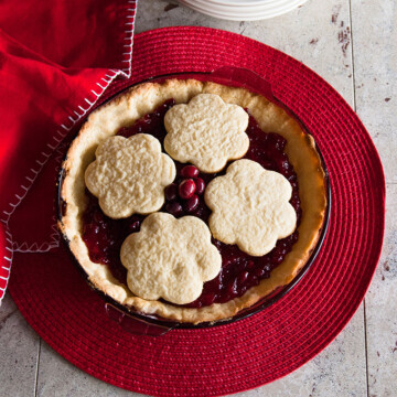 Cranberry Pie with Sugar Cookie Crust in a pie dish