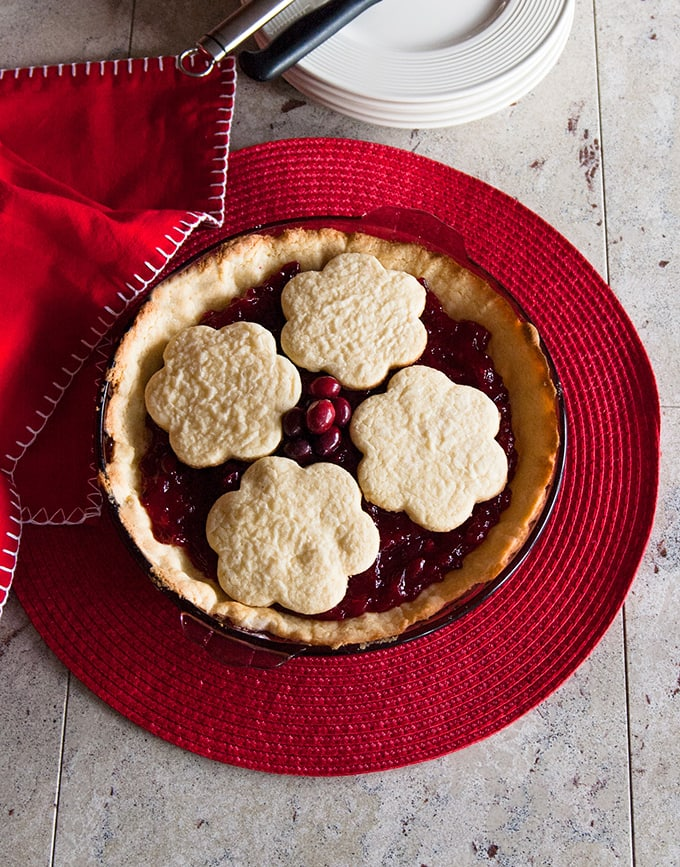 whole cranberry pie with cookie topping