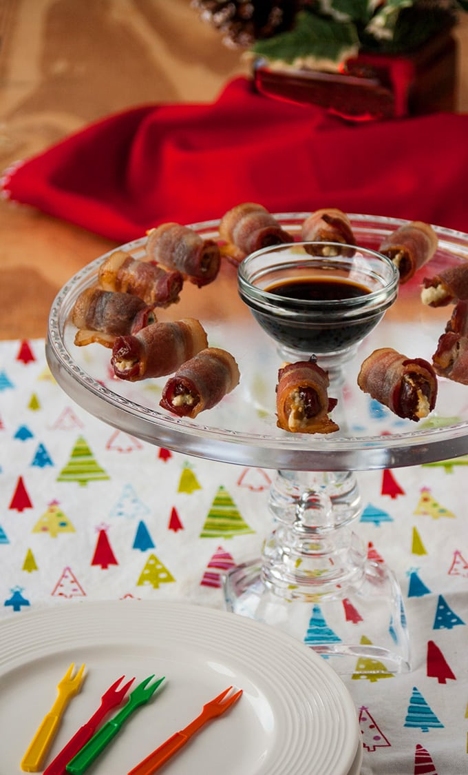 Gorgonzola-Stuffed Dates Wrapped in Bacon - A delicious appetizer plain or dipped in soy sauce! Gluten free.