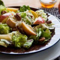 Apple Mozzarella Pecan Salad with Maple Vinaigrette in a bowl