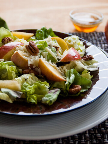 Apple Mozzarella Pecan Salad with Maple Vinaigrette in a bowl
