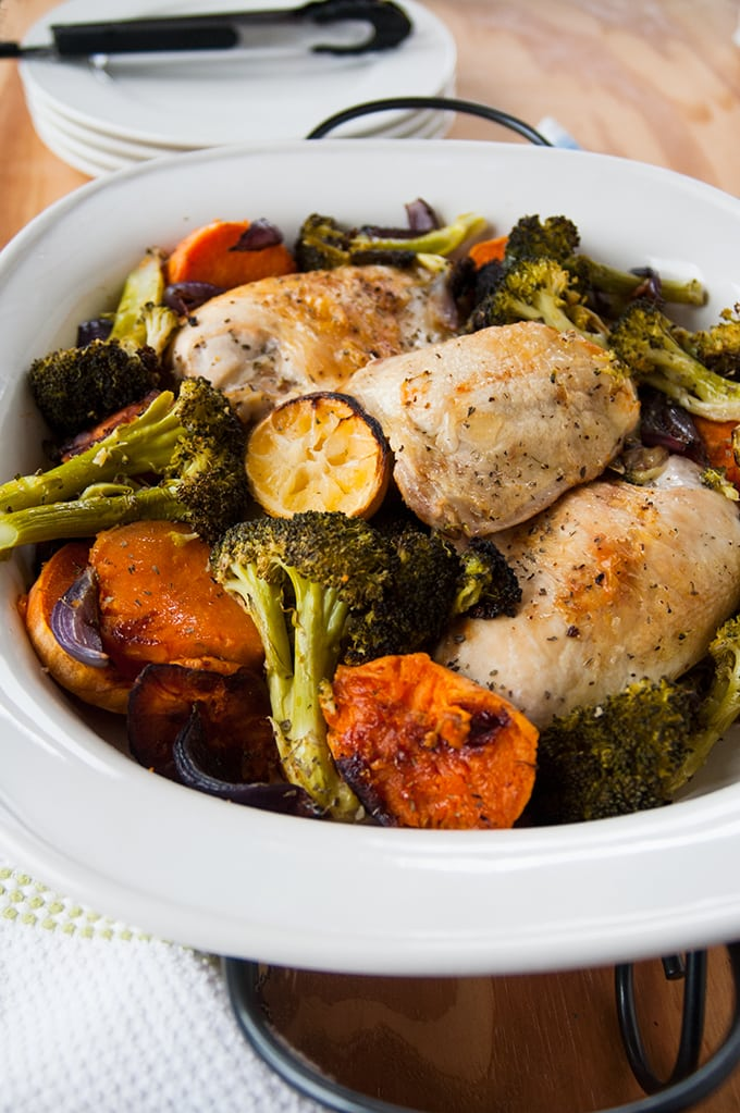 Easy One-Pan Roasted Chicken and Vegetables - Ready in under an hour and delicious! | Sheet-Pan Dinner | Sweet Potatoes | Gluten Free