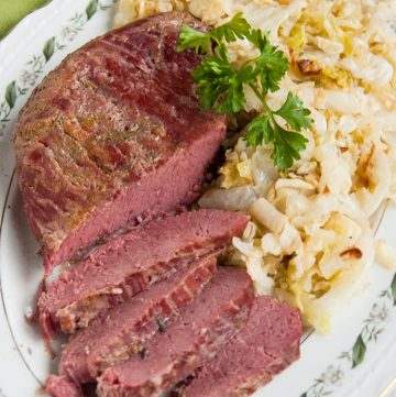 overhead view of sliced Corned Beef and Italian Sauteed Cabbage
