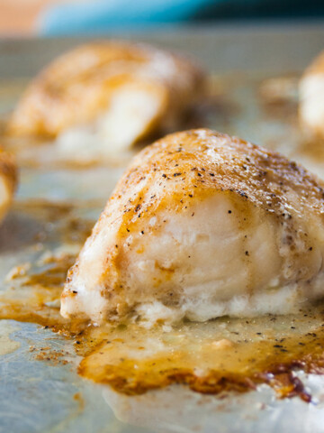 Close-up of baked cod with coffee butter