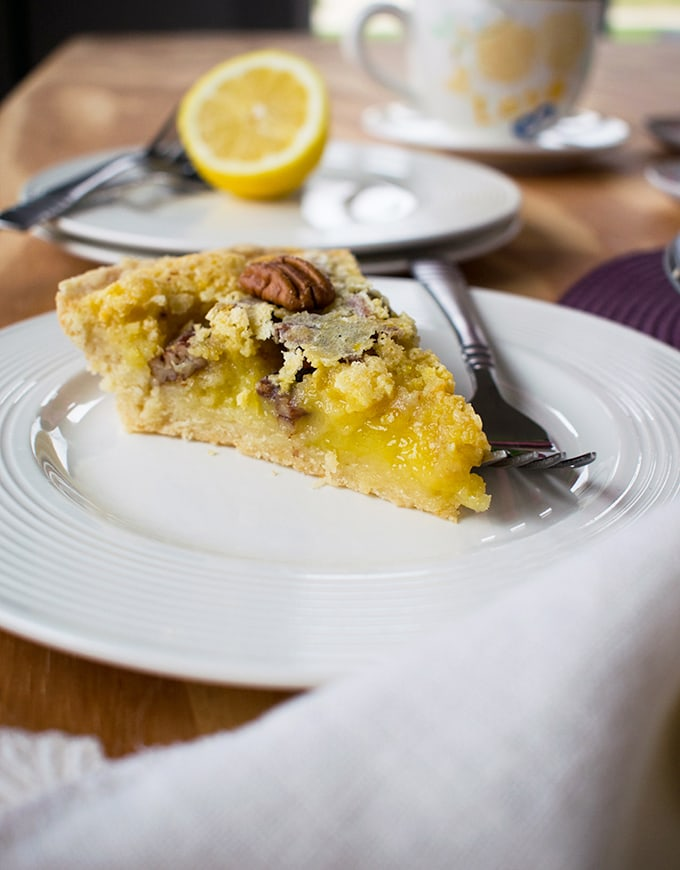 Easy Lemon Pie with Pecans - Like a gooy lemon bar in pie form, with a crackly top! | Dessert | Lemon | Pie | Easter