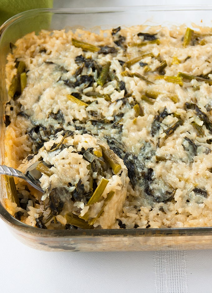 Baked Vegetable Risotto with Asparagus and Spinach - A family favorite! | Gluten Free | Meatless | Vegetarian | Side Dish