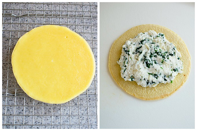 two-photo collage of a crepe on a cooling rack and crepe with ricotta filling on it