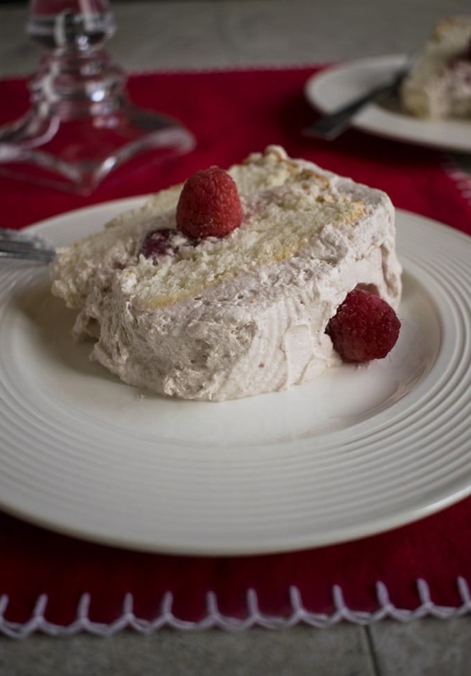 Raspberry-Almond Angel Food Cake - So delicious and refreshing dessert made from scratch!