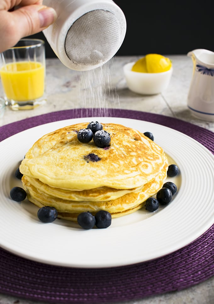 Easy Lemon-Blueberry Pancakes - A delicious breakfast or even dinner!