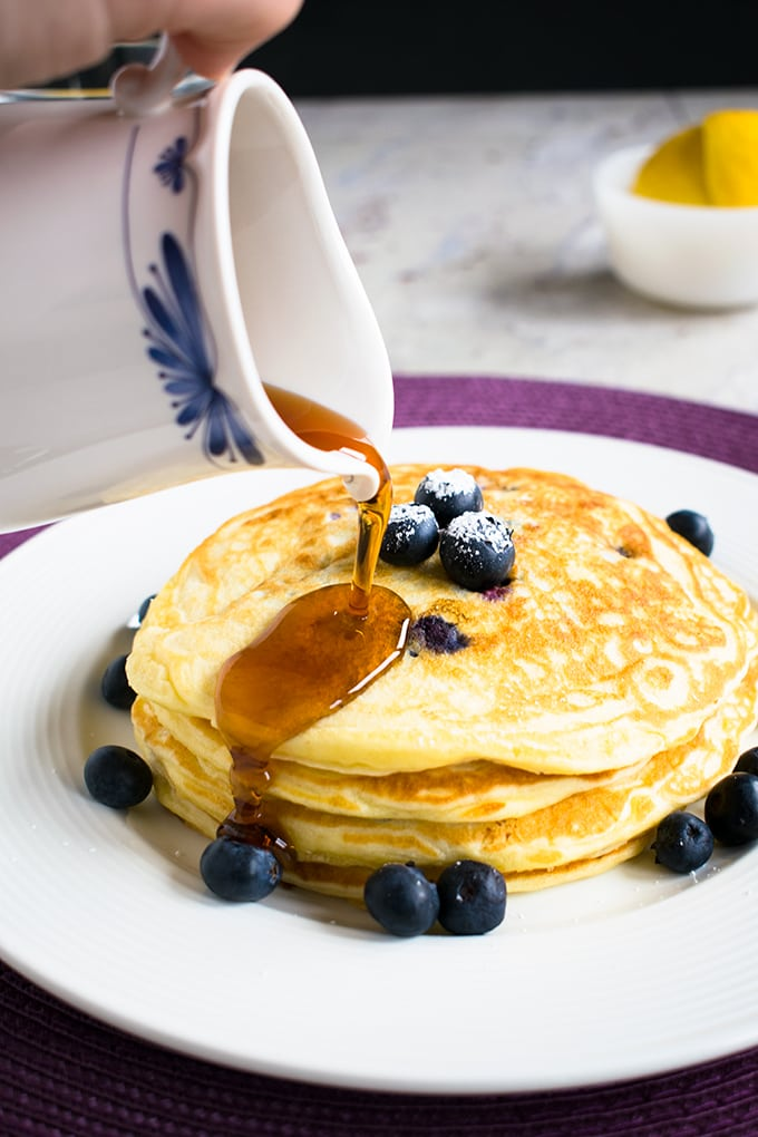 Easy Lemon-Blueberry Pancakes - A delicious breakfast with the best lemon flavor!
