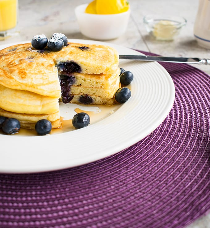 Easy Lemon-Blueberry Pancakes - A lemon lover's breakfast! So good.